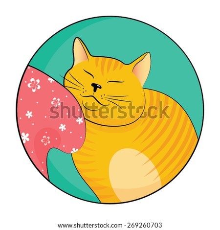 Hand drawn colored cat. Vector illustration. - stock vector