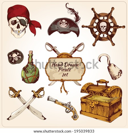 Hand drawn colored pirates decorative icons set of gun hook sword isolated vector illustration - stock vector