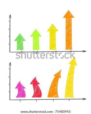 Hand-drawn colorful arrows diagram - stock vector