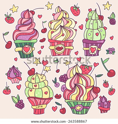 Hand drawn colorful cupcakes with strawberries, cherries, raspberries, blueberries, sugar hearts, stars and lips - stock vector