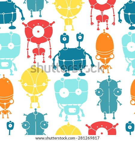 Hand drawn colorful doodle robots. Seamless vector pattern. - stock vector