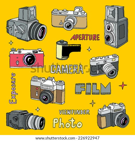 Hand drawn colorful film photo cameras set. Vector illustration. - stock vector