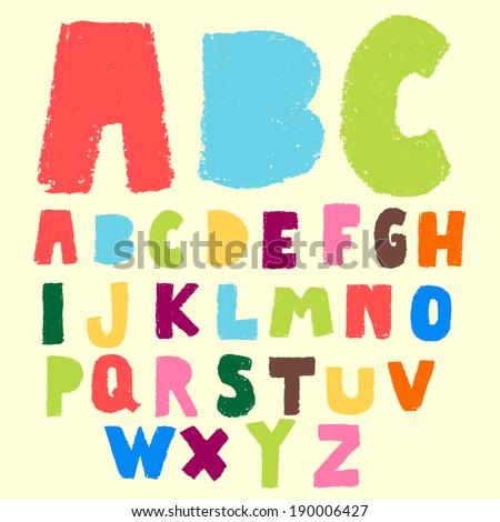 hand drawn colorful font,doodle alphabet,abc,pastel color - stock vector