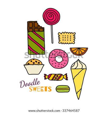 Hand drawn colorful icon set of cookies, chocolates, cakes and candies. Doodle pictogram colle?tion of sweets. Sketch design elements in cartoon style. Tasty colors symbol collection of candies. - stock vector