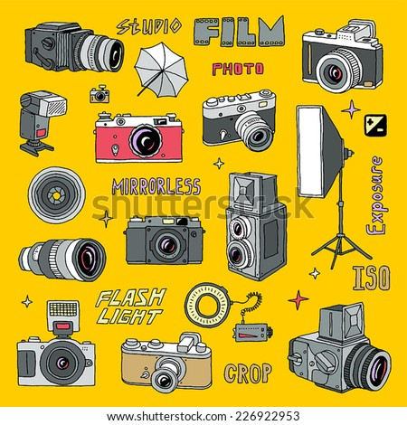 Hand drawn colorful photo cameras set 2. Vector illustration. - stock vector