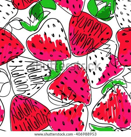 Hand drawn colorful sketch seamless pattern of strawberries. Funny bright cartoon strawberry background. - stock vector
