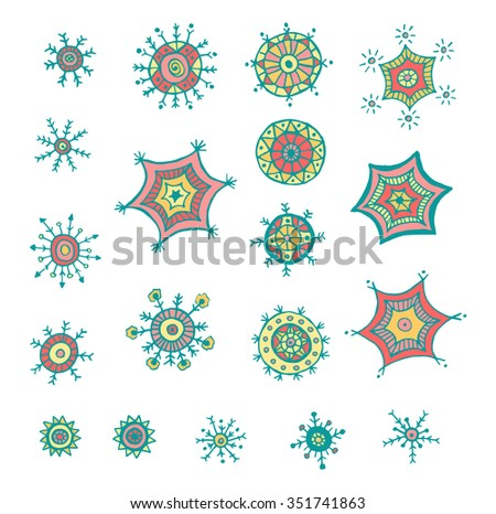 Hand drawn colorful snowflakes doodle. Tribal circular patterns. Abstract round design elements. - stock vector