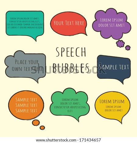 Hand-drawn, colorful speech bubbles collection set with sample text isolated on beige. Vector illustration - stock vector