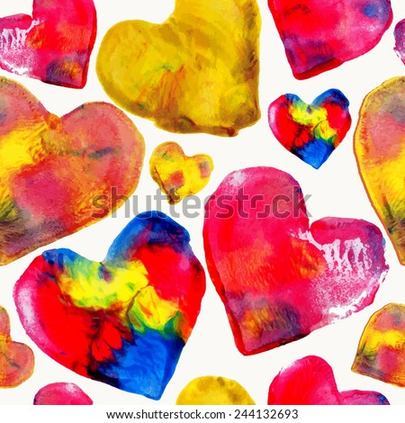 Hand drawn colorful watercolor heart love seamless pattern background. Ideal for wedding, valentines and mothers day greeting card. EPS10 vector file. - stock vector