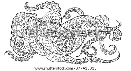 Hand drawn Coloring pages with octopus, zen tangle illustration for adult anti stress Coloring books or tattoos with high details isolated on white background. Vector monochrome sketch - stock vector