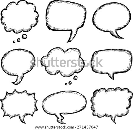 Hand drawn comic speech bubble set - stock vector