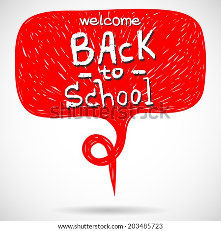 Hand drawn comic speech bubble with Back To School lettering. - stock vector
