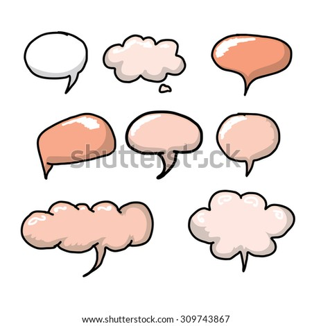 hand drawn comic speech bubbles set. funny art banner collection - stock vector
