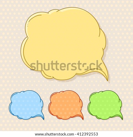 Hand-drawn comic style talk cloud. Copy-space color set - stock vector