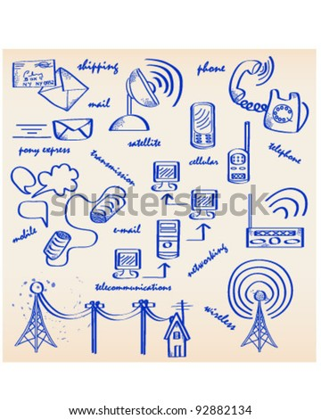 Hand Drawn Communications Icon Set  vector is eps10 - stock vector