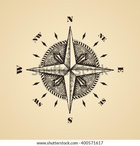 Hand drawn compass wind rose symbol. Vector traveller tool. Vintage illustration - stock vector