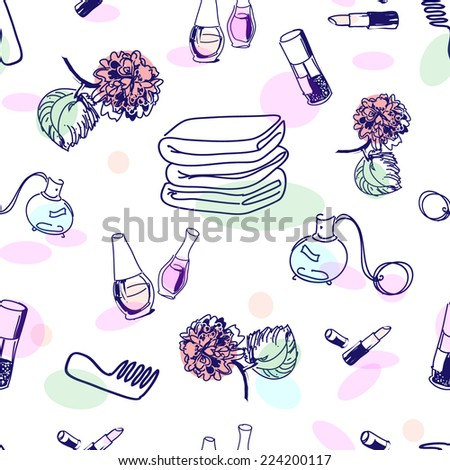 Hand drawn cosmetics, seamless pattern - stock vector
