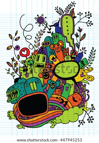 Hand drawn Crazy doodle Monster and flower,drawing style.Vector illustration. - stock vector