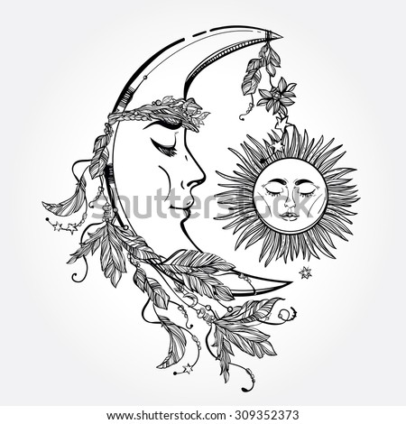 Hand drawn crescent moon with feathers and in the crown of leaves and sticks. Sleeping sun next to it. Isolated Vector illustration. Invitation element. Tattoo, astrology, alchemy, magic symbol. - stock vector