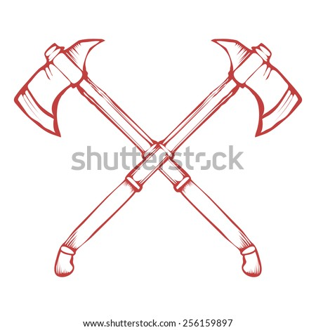 Hand Drawn Crossed Battle Axes isolated on white background vector illustration - stock vector