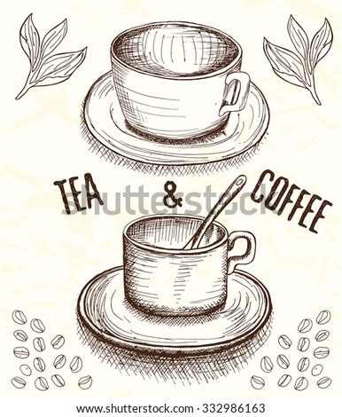 Hand drawn cup of coffee and tea with round handle in sketch style with leaves, coffee beans and title in brown colors on beige grunge background - stock vector