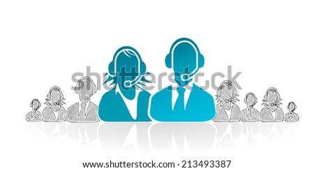 Hand drawn customer service. Concept vector illustration symbol - stock vector