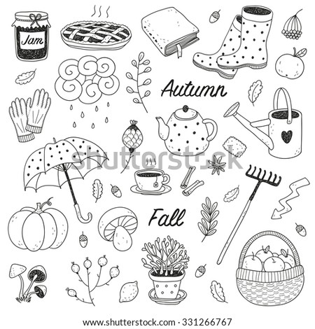hand drawn cute vector fall set isolated on a white background - stock vector