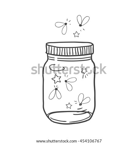 Hand drawn cute vector illustration of a mason jar filled with fireflies, summer, dreams, wedding and romance concept illustration - stock vector