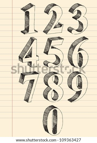 Hand drawn 3d numbers vector set, pen and ink drawing traced. - stock vector