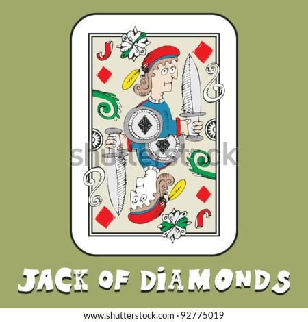 hand drawn deck of cards, doodle jack of diamonds - stock vector