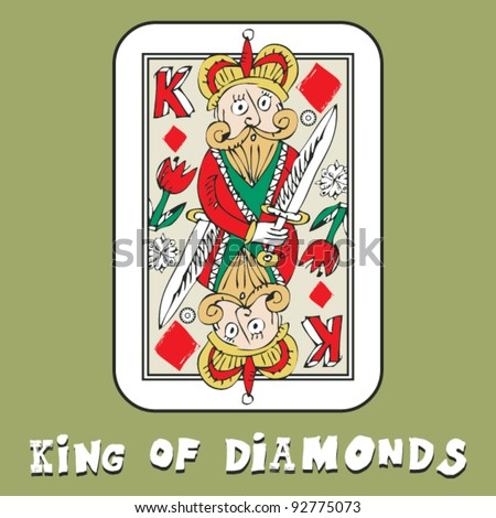 hand drawn deck of cards, doodle king of diamonds - stock vector