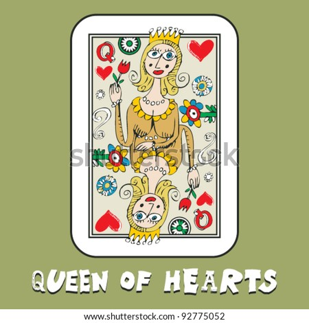 hand drawn deck of cards, doodle queen of hearts - stock vector