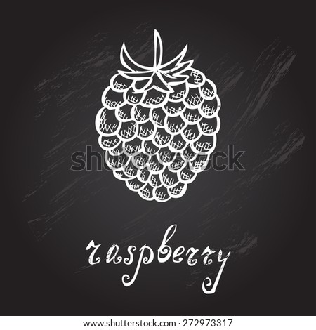 Hand drawn decorative raspberry, design element. Can be used for cards, invitations, gift wrap, print, scrapbooking. Kitchen theme. Chalkboard background. Sketch - stock vector