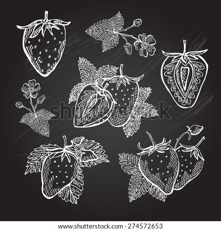 Hand drawn decorative strawberries, design elements. Can be used for cards, invitations, gift wrap, print, scrapbooking. Kitchen theme. Chalkboard background - stock vector