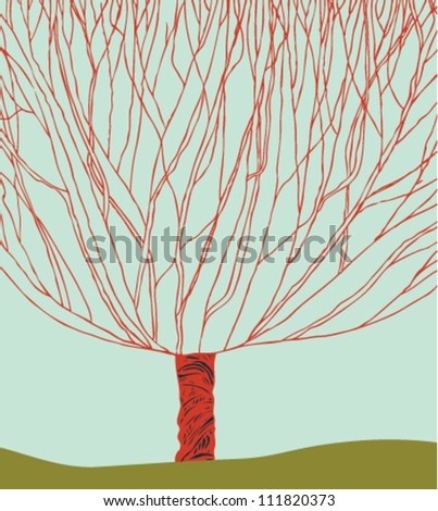 Hand drawn decorative tree. Tree silhouette. Can be printed on cups, bags, souvenirs - stock vector