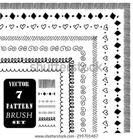 Hand drawn decorative vector pattern brushes. Ink illustration - stock vector