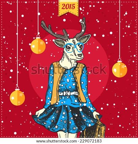 Hand drawn deer woman with snowfall and xmas balls. Hipster Christmas greeting card. Vector illustration. - stock vector