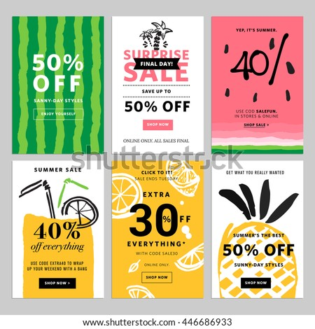 Hand drawn design promotional banner templates. Vector illustrations for website and mobile website banners, posters, email and newsletter designs, ads, promotional material. - stock vector