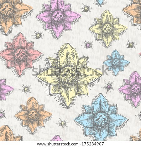 Hand Drawn Detailed Seamless Pattern - stock vector