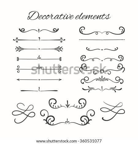 Hand drawn dividers set. Ornamental decorative elements. Vector ornate elements design. - stock vector