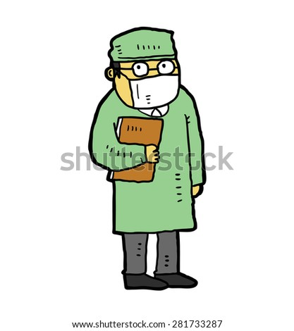 hand drawn doctor isolated on white background - stock vector