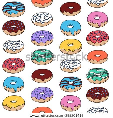Hand drawn donut vector seamless pattern - stock vector
