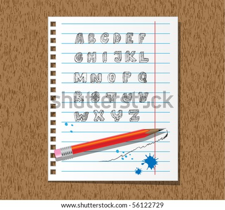 Hand drawn doodle alphabet on paper with pencil - stock vector