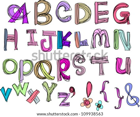 hand drawn doodle alphabet,vector illustration , a to z - stock vector