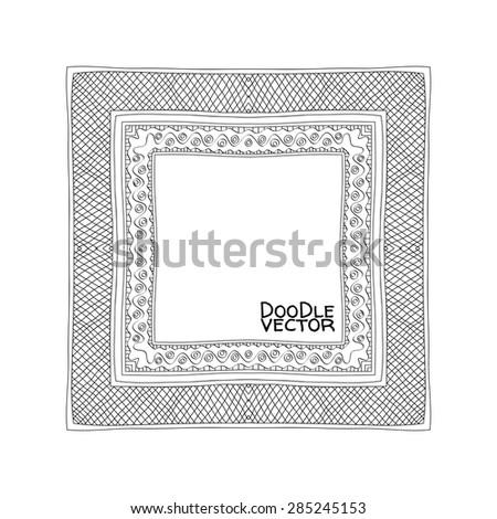 Hand Drawn Doodle Border Frames. Vector illustration. - stock vector