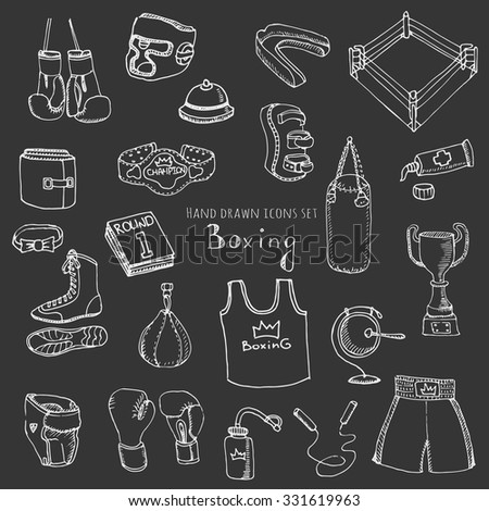 Hand drawn doodle boxing set Vector illustration Sketchy sport related icons boxing elements, boxing uniform, gloves, shoes, helmet, boxing ring, belt, trophy - stock vector