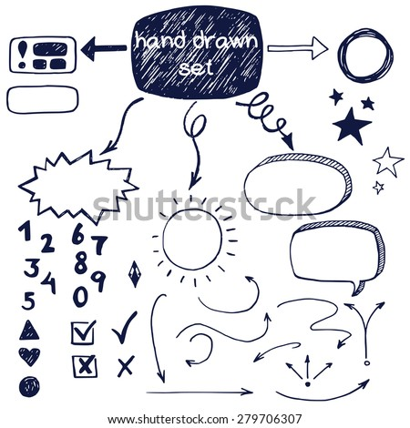 Hand drawn doodle check marks, arrows  and speech bubbles, isolated on white background. - stock vector