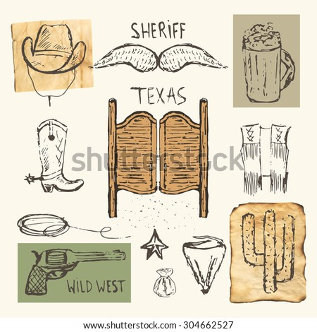 Hand drawn doodle cowboy objects collection including hat, mustache, doors, pistol, bag with money, cactus, sheriff star, vest, boots, mask, mug of beer, lasso. Wild west icon, banner, logo. - stock vector