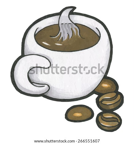hand drawn doodle cup of coffee. Vector illustration - stock vector