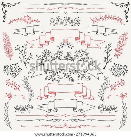 Hand Drawn Doodle Design Elements. Decorative Floral Banners, Dividers, Branches, Ribbons. Vintage Vector Illustration. - stock vector